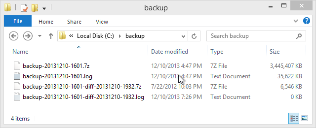 Screenshot of backup folder