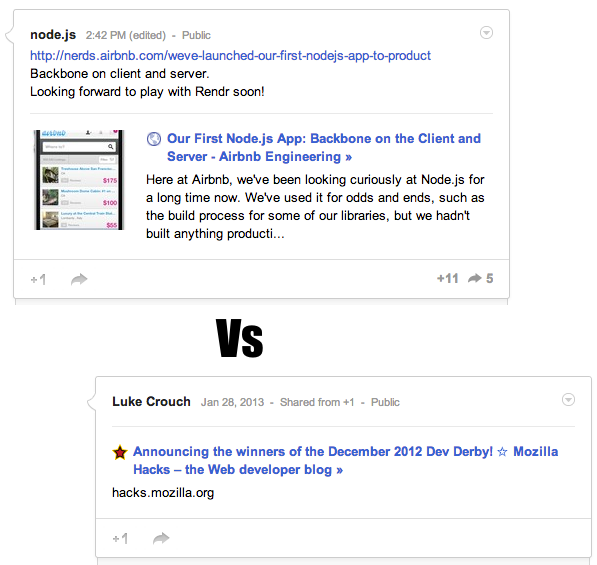 Screenshot of Google+ link previews