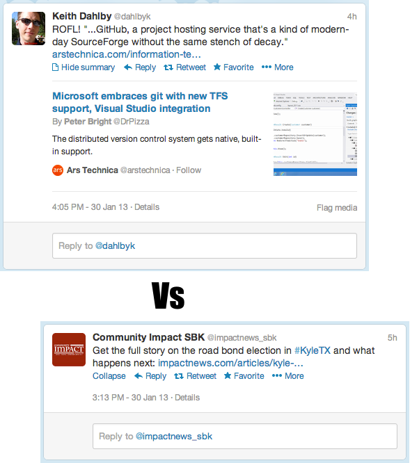 Screenshot of Twitter link previews